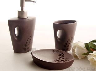 外贸原单 陶瓷卫浴三件套 浴室用品套件 漱口杯 皂液器 皂盒,