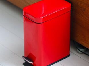 zakka红色白色长方形脚踏欧式日式垃圾桶 家用可爱宜家外贸卫生桶,