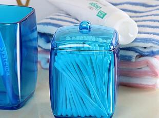 塑料亚克力棉签盒 棉签筒无印良品化妆棉盒收纳盒宜家牙签盒透明,浴室储物,