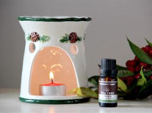 水生之城 外贸出口尾单 圣诞花环彩绘陶瓷香薰炉 不含精油,
