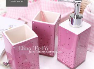 特色紫色彩点陶瓷卫浴三件洗漱套装套件浴室用品组 厂销现货实拍,