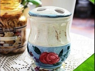 【A grass】外贸手绘陶瓷做旧牙刷架、笔筒、小花瓶!,