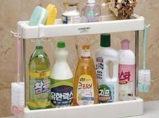韩国进口 整理架 收纳架 置物架 双层塑料架 调料收纳架 000716,浴室储物,