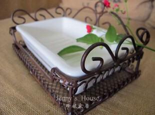 美式乡村 家居软装饰品 卫浴系列 金属配白色陶瓷肥皂盒 外贸正品,