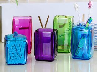 方形漱口杯子+4孔牙刷架+棉签盒 牙具五件套装创意卫生间洗漱用品,