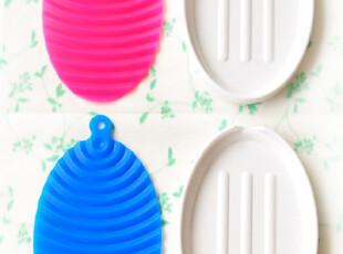 日本 两用小号波浪污渍搓衣板皂盒,