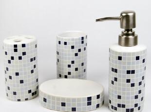 浴室套装 陶瓷 卫浴套装 四件套 简约 卫浴套装 欧式 方格子,