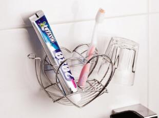 创意吸盘牙膏牙缸架 心形不锈钢牙刷架 情侣漱口杯架 刷牙杯架子,