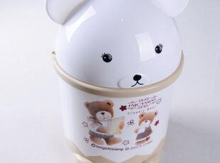 龙仕翔6821A印花翻盖垃圾桶/可爱卡通卫生桶/个性创意收纳桶,浴室储物,