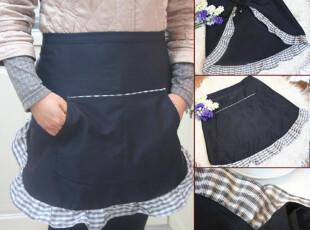 特价 韩版 精选半身荷叶边防水围裙 木耳边围裙 花边围裙 黑色,