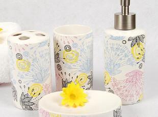 和风花纹陶瓷卫浴套装-五件套-香皂盒,漱口杯,皂液器,牙刷架,