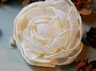 木绢花 天然树皮纯手工制成的卷边蔷薇花 香薰挥发介质 装饰假花,
