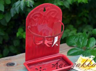 BAO ZAKKA 杂货 限量版红色雪花 浮雕 搪瓷 可壁挂 滤水架 肥皂盒,