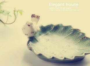 家居 卫浴用品 手工陶瓷 裂纹釉 树叶上的小鸟 皂盒小碟,