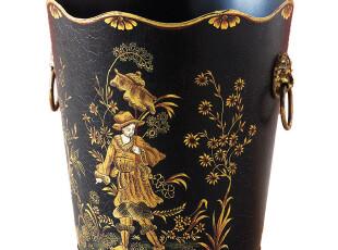 【纽约下城公园】 黑色托勒王子金色铸铁手柄纸篓垃圾桶 现货,