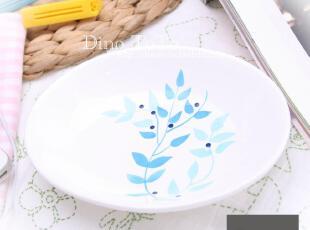 蓝色花纹 外单陶瓷小肥香皂零食瓜子装饰盘碟子 厂家直销现货实拍,