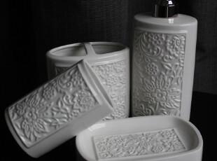白色陶瓷卫浴 扁圆柱浮雕4件套浴室用品 乳液瓶牙刷架口杯皂碟,
