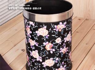 0978-14奢华皮革垃圾桶 时尚废纸篓 中国风 富贵牡丹 0.8,