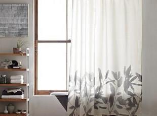 简单的奢华 上乘纯棉质感清新高雅水墨竹花剪影浴帘 现货 限时9折,