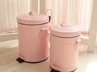 韩国甜美粉色脚踏式垃圾桶/超可爱粉色带盖垃圾桶 大小号,
