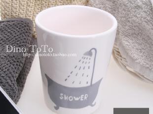 创意小图案陶瓷卫浴洗漱用品浴室用品漱口杯口杯子 厂销现货实拍,