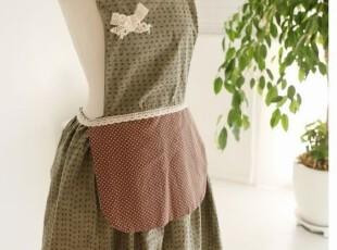 韩版可爱 厨房 咖啡厅围腰 田园围裙时尚美容工作服,
