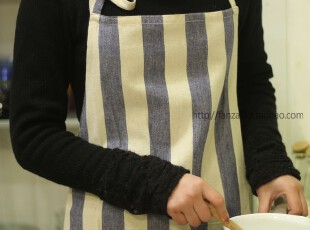 Fan's zakka杂货 棉麻品。条纹围裙(蓝色),
