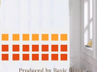 韩国订单红色方格防水防霉浴帘- 180(宽)*200(高),