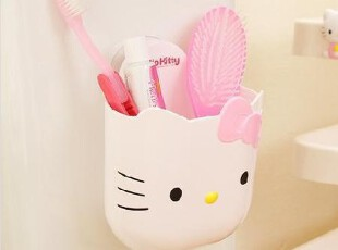 韩国进口正版 HELLO KITTY猫新款粉色蝴蝶结塑料吸盘收纳桶,浴室储物,