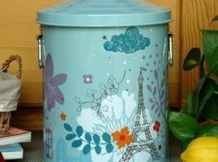 日式ZAKKA杂货/法式乡村/埃菲尔铁塔印铁艺收纳桶/垃圾桶/储物桶,浴室储物,