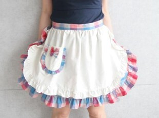 【韩国进口家居】B334  彩色格子木耳边女仆装可爱双层抗菌围裙,