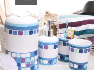 8省包邮 特色蓝图陶瓷卫浴五件洗漱套装套件浴室用品组 现货实拍,