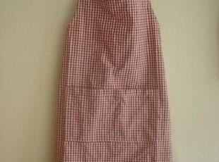 日单尾货 红色格子棉布围裙,