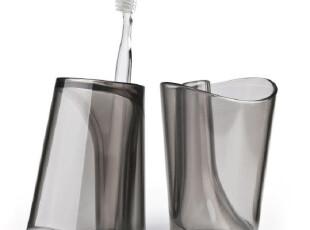 泰国QUALY 漱摇杯/漱口杯/刷牙杯/牙刷架 黑色透明 市场价98元,