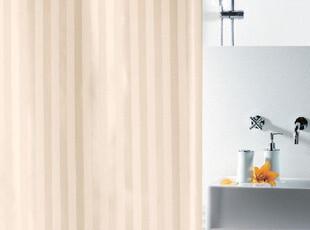 欧洲时尚卫浴spirella简约米色竖条纹涤纶布防水浴帘包邮,