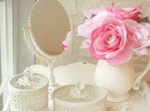 韩国正品代购 白色唯美首饰盒梳妆台化妆镜 梳妆镜子美容镜 3色),