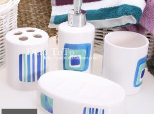 独家手绘蓝图陶瓷卫浴四件洗漱套装套件浴室用品组 厂销现货实拍,