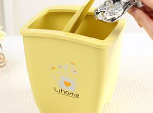 懒角落★创意家居 韩版 时尚简洁 扁形 翻盖垃圾筒 卫生桶 33319,