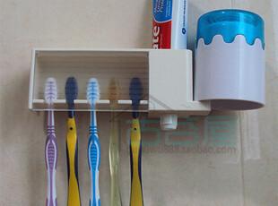日本进口LEC 五位牙刷架 牙刷置物架 杯子收纳架牙膏整理架粘贴式,浴室储物,
