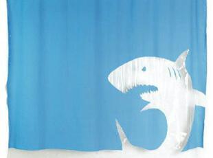 *Samyo美国代购 创意生活 跳跃的蓝色鲨鱼浴帘 不含PVC,
