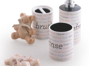 外贸独家 美式字母图案 陶瓷洁具套装(皂液瓶、牙刷座、口杯),