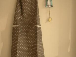 日单尾货 咖色水玉棉麻长身系带围裙,