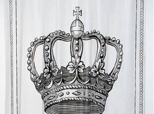 『韩国进口家居』K633 皇室气质 十字皇冠图案防水浴帘,