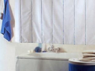 【MAKRITE】高档耐用简洁个性兰色竖条纹PVC防水浴帘特价6折,