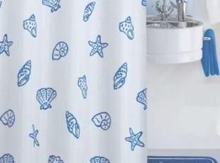 欧洲时尚卫浴spirella兰色贝壳浴室涤纶防水浴帘 防水窗帘 帘子,