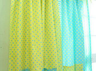 韩国进口家居 蓝色点点 黄色点点带兜防水浴帘 vl019,