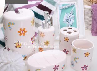 8省包邮 可爱儿童女孩花图陶瓷卫浴六件洗漱套装套件浴室用品组,