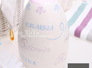 实拍粉色淡紫花陶瓷浴室卫浴用品马桶刷架套装洁厕刷厕所刷马桶杯,马桶配饰,