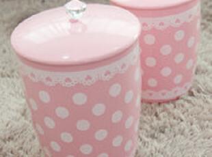 8.11【韩国家居】粉色蕾丝波点圆形垃圾桶废纸篓 大小,