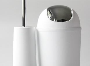 新婚必备大牌正品时尚创意卫浴欧式垃圾桶马桶刷套装 白色黑色,马桶配饰,